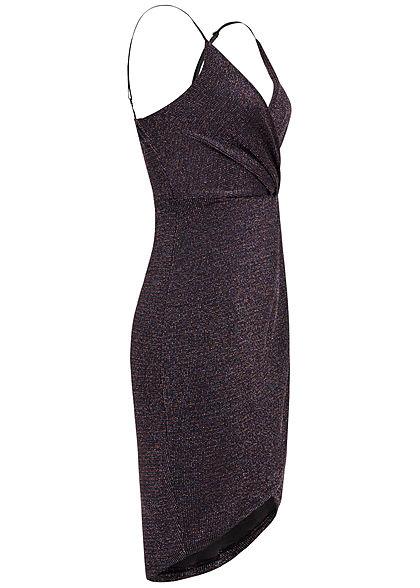 Hailys Damen V-Neck Lurex Wickelkleid schwarz multicolor