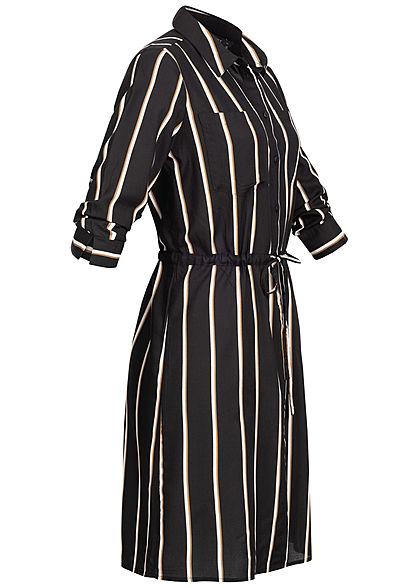 ONLY Damen NOOS 3/4 Arm Blusen Kleid Streifen Muster Taillenzug schwarz caramel