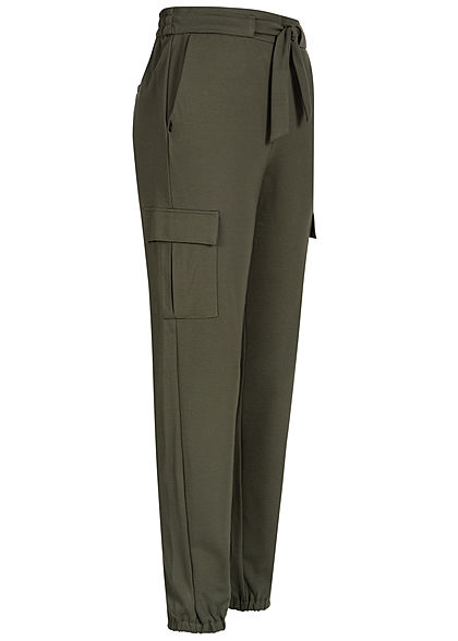 ONLY Damen NOOS Poptrash Cargo Hose 4-Pockets Schleife forest night olive grün
