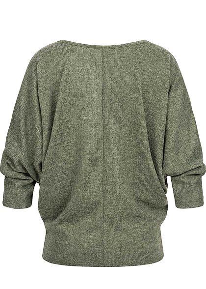 Styleboom Fashion Damen Melange Shirt Fledermausärmel inkl. Kette dunkel grün