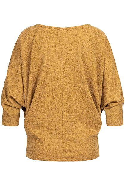 Styleboom Fashion Damen Melange Shirt Fledermausärmel inkl. Kette senf gelb