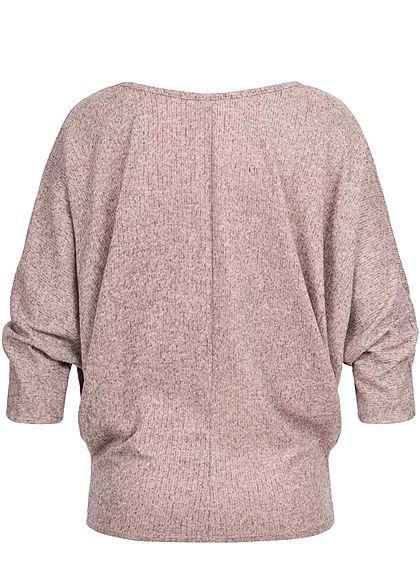 Styleboom Fashion Damen Melange Shirt Fledermausärmel inkl. Kette rosa melange