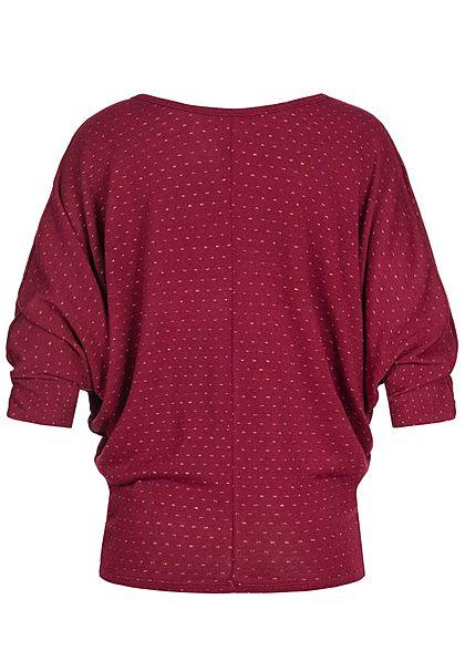 Styleboom Fashion Damen Oversized Lurex Shirt inkl. Kette bordeaux rot