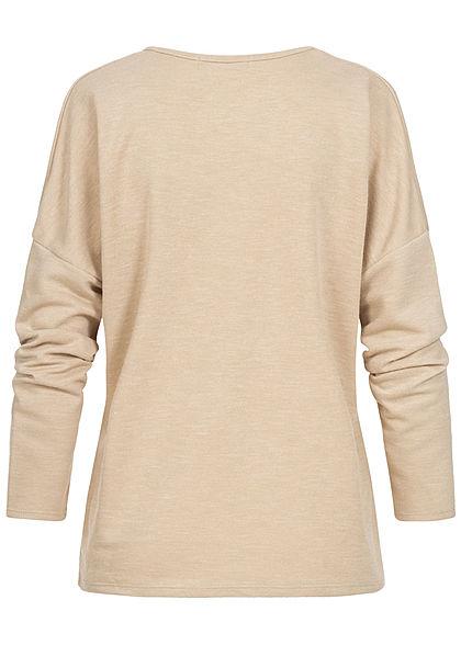 Styleboom Fashion Damen V-Neck Sweater beige