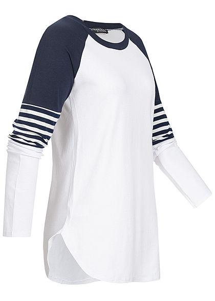 Styleboom Fashion Damen 2-Tone Raglan Longsleeve navy blau weiss