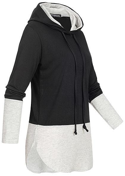 Styleboom Fashion Damen 2-Tone Hoodie Kapuze schwarz hell grau