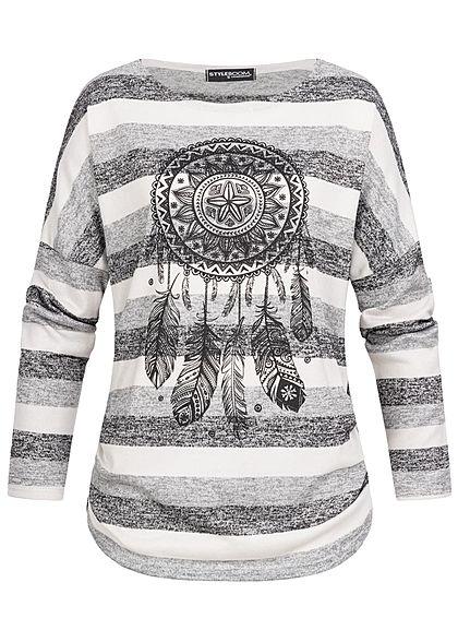 Styleboom Fashion Damen Turn-Up Shirt Traumfänger Print off weiss grau
