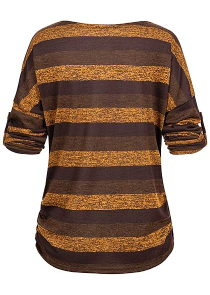Styleboom Fashion Damen Turn-Up Shirt Traumfänger Print kupfer braun