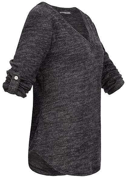 Styleboom Fashion Damen Melange Turn-Up Sweater schwarz