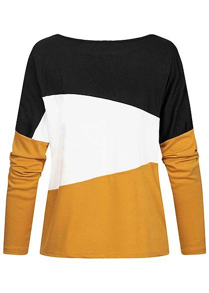 Styleboom Fashion Damen Colorblock Sweater schwarz weiss gelb