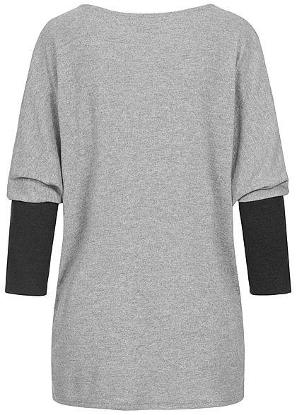 Styleboom Fashion Damen 2-Tone Soft Touch Sweater Fledermausärmel grau schwarz