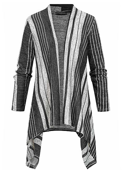 Styleboom Fashion Damen Cardigan Streifen Muster schwarz grau