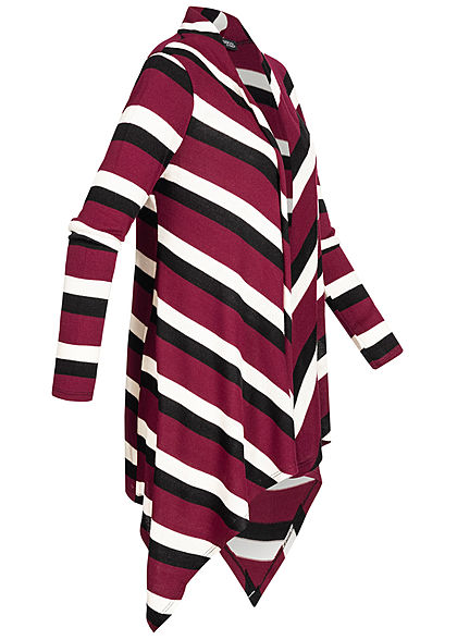 Styleboom Fashion Damen Draped Cardigan Streifen Muster bordeaux rot