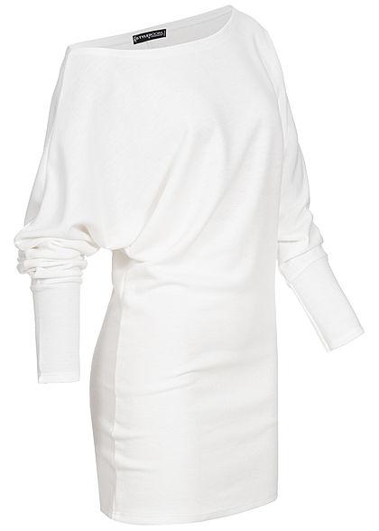 Styleboom Fashion Damen One-Shoulder Long Sweater Fledermausärmel weiss