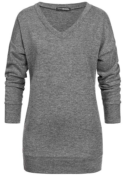 Styleboom Fashion Damen Longform Sweater 2-Pockets dunkel grau