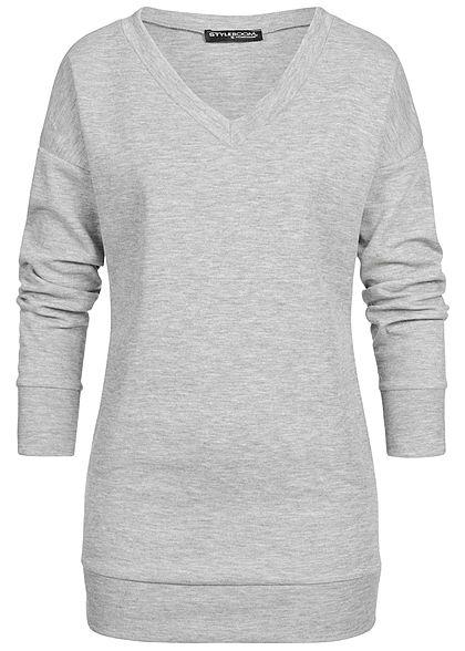 Styleboom Fashion Damen Longform Sweater 2-Pockets hell grau
