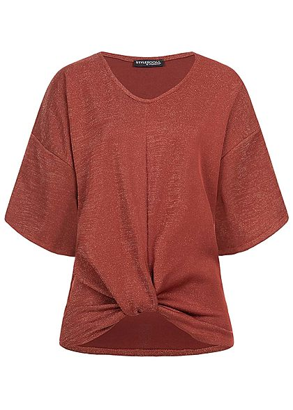 Styleboom Fashion Damen Oversized 1/2 Arm Glitzer Shirt rost bordeaux  rot