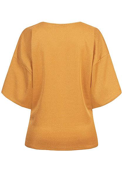 Styleboom Fashion Damen Oversized 1/2 Arm Glitzer Shirt Frontknoten senf gelb