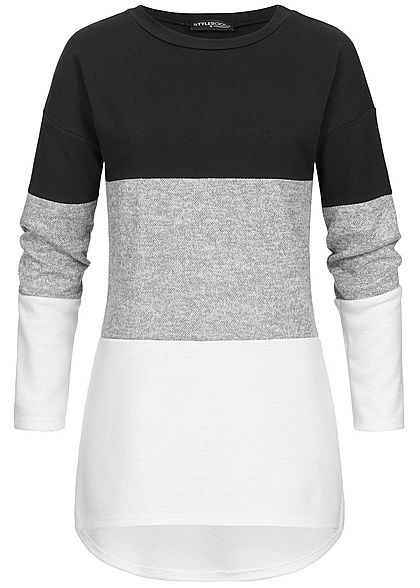 Styleboom Fashion Damen Colorblock Pullover Vokuhila schwarz grau weiss
