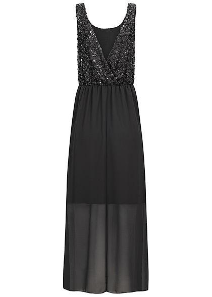 Styleboom Fashion Damen V-Neck Pailletten Maxi Kleid 2-lagig schwarz