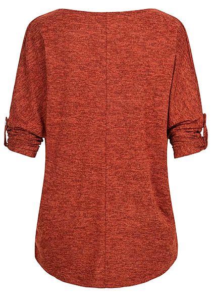 Styleboom Fashion Damen Oversized Turn-Up Melange Shirt kupfer braun
