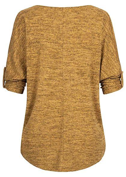 Styleboom Fashion Damen Oversized Turn-Up Melange Shirt senf gelb