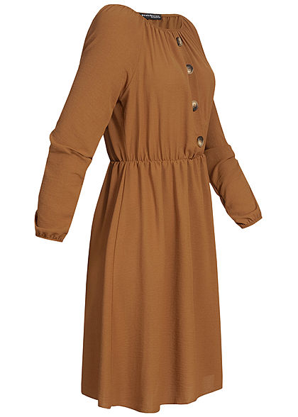 Styleboom Fashion Damen Off-Shoulder Mini Kleid Deko Knöpfe camel braun