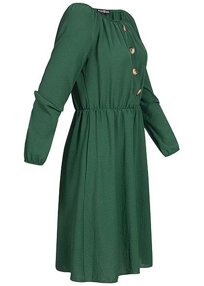 Styleboom Fashion Damen Off-Shoulder Mini Kleid Deko Knöpfe dunkel grün