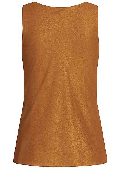 Styleboom Fashion Damen Glitzer Wasserfall Top 2-Lagig kupferbraun gold