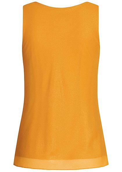 Styleboom Fashion Damen Glitzer Wasserfall Top 2-Lagig senfgelb gold