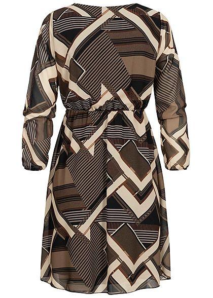 Styleboom Fashion Damen Kleid Geometrischer Print braun beige