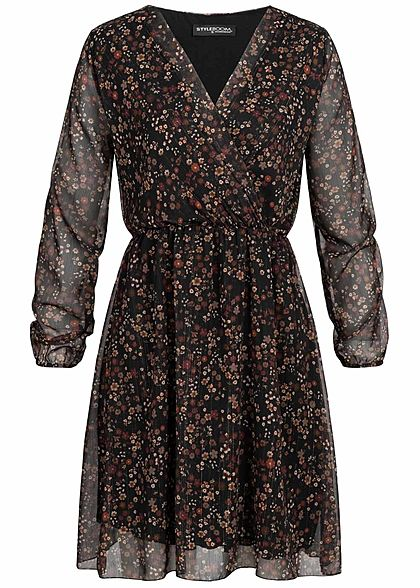 Styleboom Fashion Damen V-Neck Mini Kleid Blumen Print schwarz multicolor