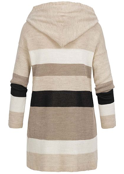 Styleboom Fashion Damen Colorblock Cardigan Kapuze beige weiss fango schwarz