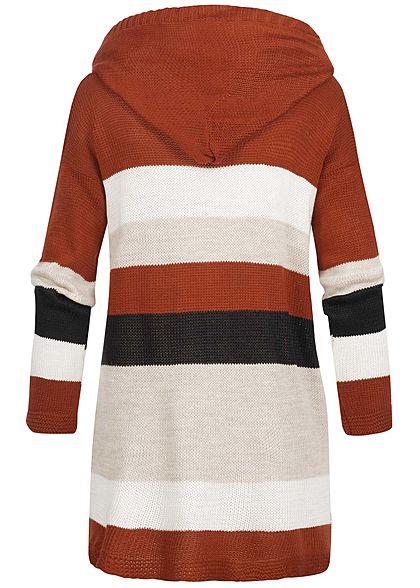 Styleboom Fashion Damen Colorblock Cardigan Kapuze weiss beige kupfer schwarz