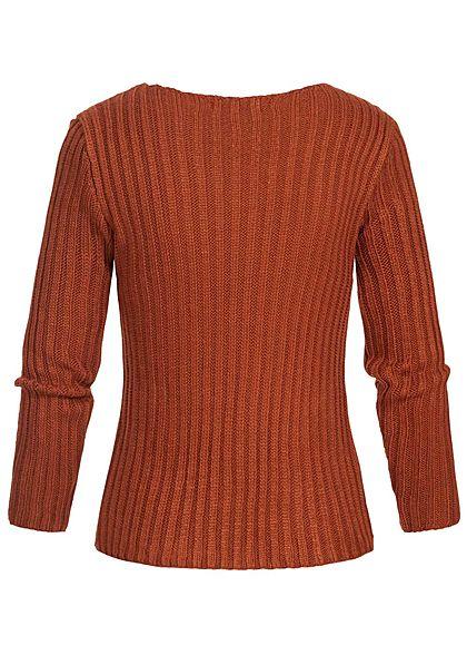 Styleboom Fashion Damen Ripped-V-Neck Strick Pullover copper braun