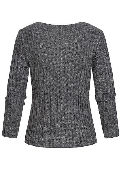 Styleboom Fashion Damen Ripped-V-Neck Strick Pullover dunkel grau