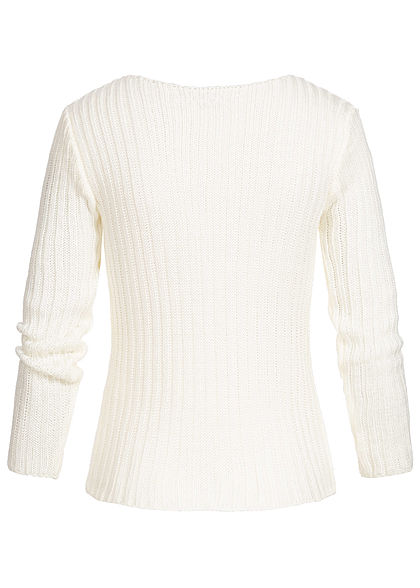 Styleboom Fashion Damen Ripped-V-Neck Strick Pullover weiss