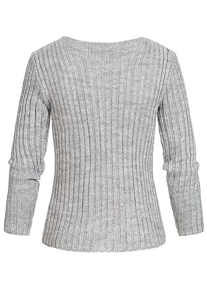 Styleboom Fashion Damen Ripped-V-Neck Strick Pullover hell grau