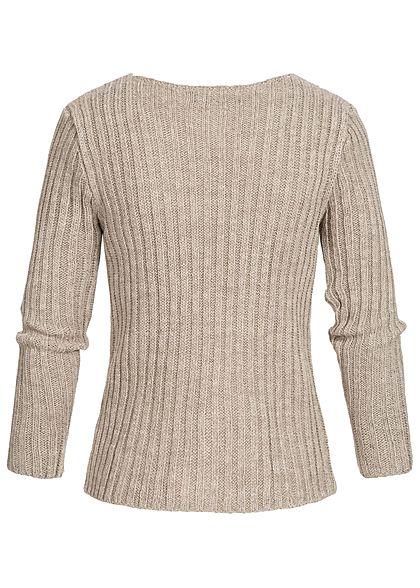Styleboom Fashion Damen Ripped-V-Neck Strick Pullover fango braun