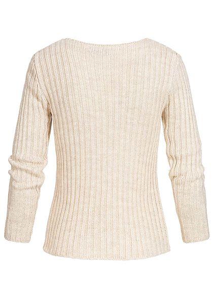 Styleboom Fashion Damen Ripped-V-Neck Strick Pullover beige