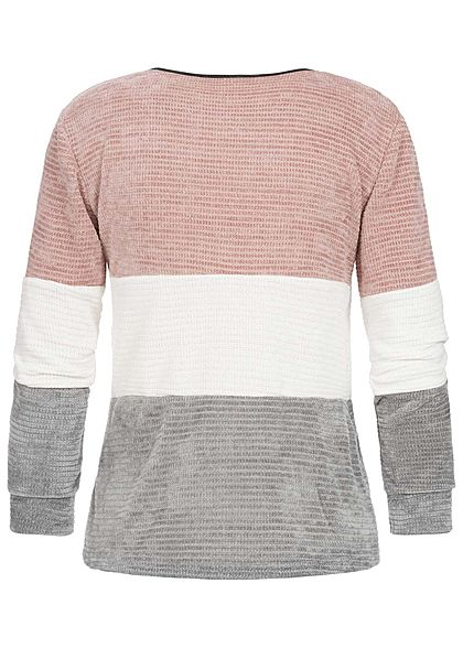 Styleboom Fashion Damen Chenille Colorblock Sweater rosa weiss grau