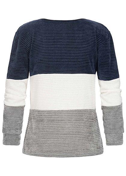 Styleboom Fashion Damen Chenille Colorblock Sweater navy blau weiss grau