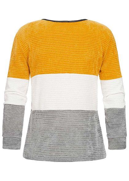 Styleboom Fashion Damen Chenille Colorblock Sweater senf gelb weiss grau