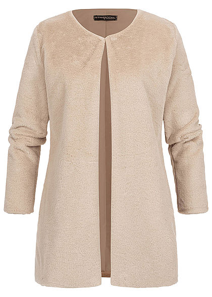 Styleboom Fashion Damen Kunstfell Cardigan 2-Pockets beige