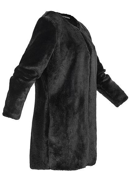 Styleboom Fashion Damen Kunstfell Cardigan 2-Pockets schwarz