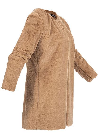 Styleboom Fashion Damen Kunstfell Cardigan 2-Pockets camel braun