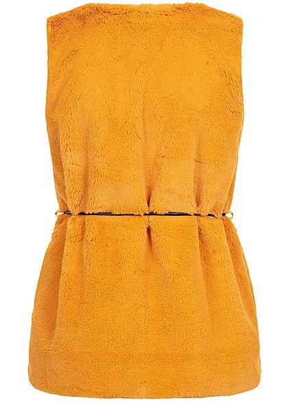 Styleboom Fashion Damen Kunstfell Weste 2-Pockets inkl. Gürtel curry gelb