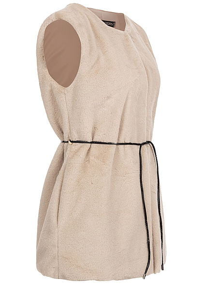 Styleboom Fashion Damen Kunstfell Weste 2-Pockets inkl. Gürtel beige