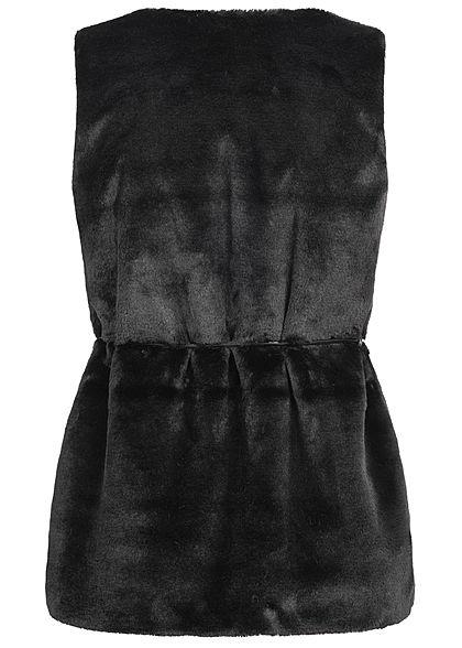 Styleboom Fashion Damen Kunstfell Weste 2-Pockets inkl. Gürtel schwarz