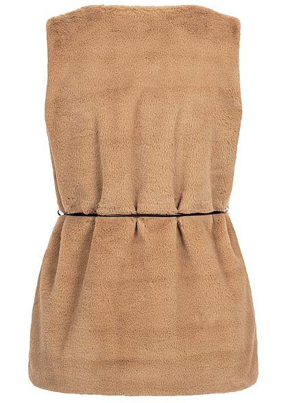 Styleboom Fashion Damen Kunstfell Weste 2-Pockets inkl. Gürtel camel braun